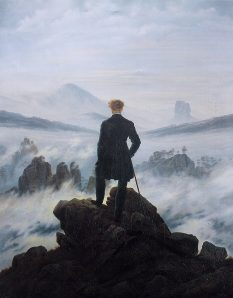 man at high altitude painting