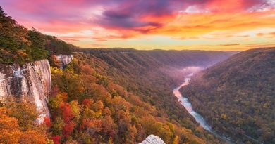 New River Gorge, West Virginia, USA autumn morning landscape at the Endless Wall.